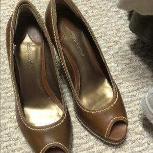 Brown leather peep toe heels